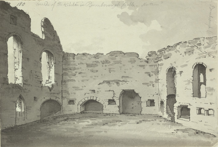 Bamburgh Castle, kitchen ruins f.180